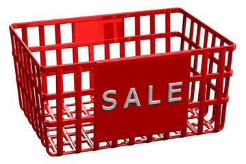 Red shopping basket with word sale