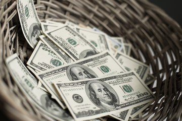 Money and Finance, American dollars are in the basket