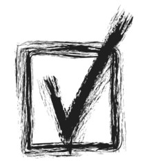 doodle grunge tick icon