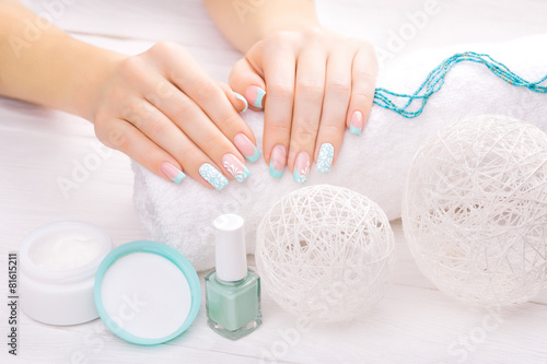 turquoise french manicure with light towel - 81615211