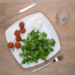 Vegetable salad. Mache salad and tomatoes