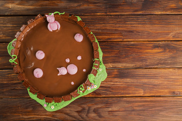 Farm themed chocolate cake on wooden table