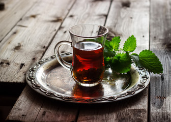 tea with mint  in the Arab style