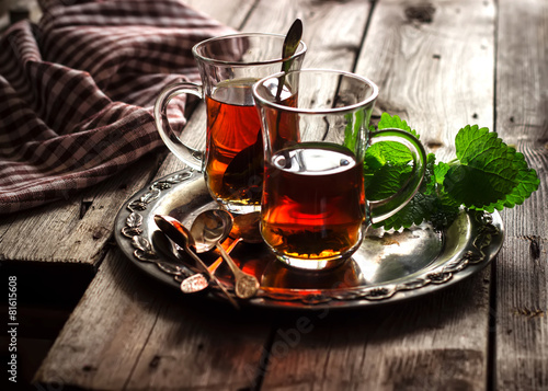 Deurstickers Thee tea with mint in the Arab style