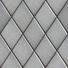 Gray Paving  Slabs Laid as Pattern of Rhombuses.