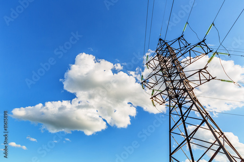 High voltage line and blue sky - 81615898