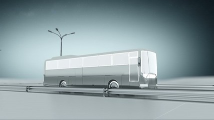 Monochrome public bus on a highway side view looping animation