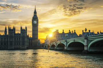 Famous Big Ben clock tower in London at sunset