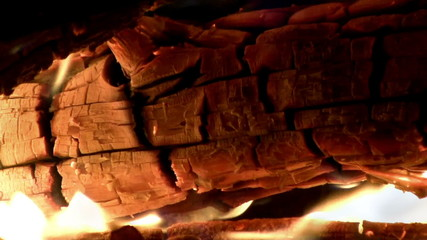 (Perfect Loop) Burning Christmas Yule Log on Fire Closeup