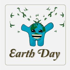 Earth day, Planet happy with birds over white color backgroun