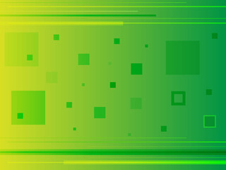 Green abstract background with squares and lines