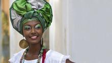 "Постер, картина, фотообои ""Brazilian Woman in Traditional Attire, Salvador, Bahia, Brazil"""