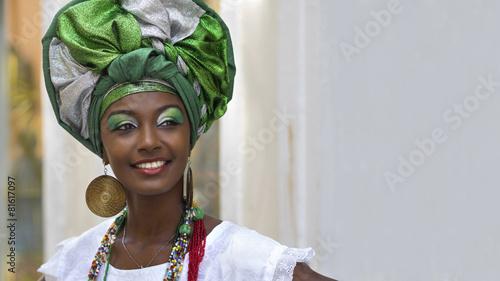Leinwanddruck Bild Brazilian Woman in Traditional Attire, Salvador, Bahia, Brazil