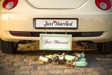 "Wedding car with a plate ""Just married""."