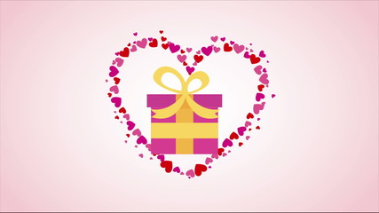 Gift on pink heart Video animation, HD 1080