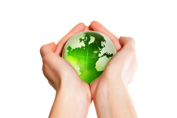 Green earth the world in hand