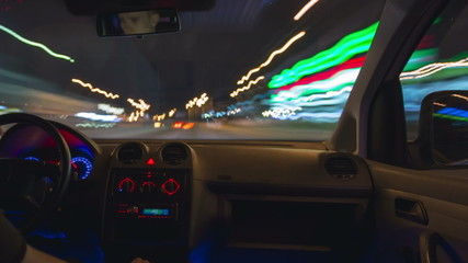 The night car driving time lapse, wide angle, slider shot