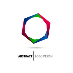 Abstract colorful polyhedron. Logo template.