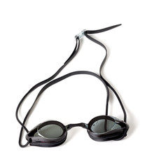 Wet goggles for swimming on white background.