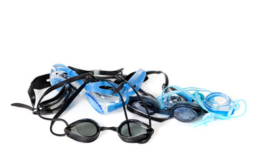 Wet goggles for swimming on white background