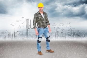 Composite image of full length portrait of confident handyman