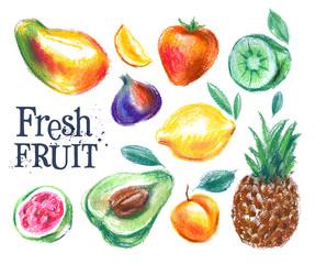 ripe fruit vector logo design template. fresh food or gardening