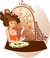 Beautiful girl into coffee house