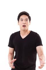portrait of surprised, stunned, shocked asian man