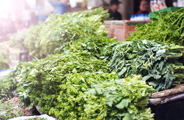 Fresh herbs on traditional street market in Sapa,