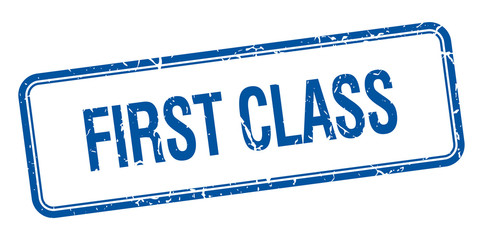 first class blue square grungy vintage isolated stamp