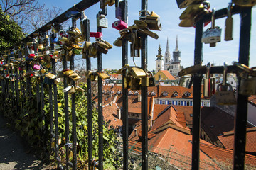Cathedral and love locks on Upper town in Zagreb, Croatia