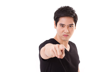 serious, confident man pointing at you