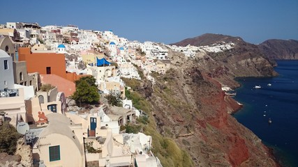 Breathtaking view of Greek town Oia and sea