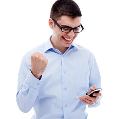 Excited guy reading good news by smartphone