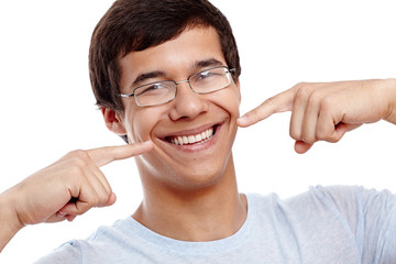 Guy showing his healthy smile