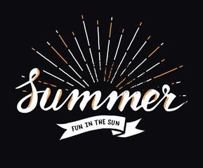 Hand drawn vintage summer design element with sunburst