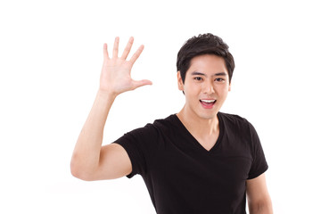 happy smiling man showing greeting gesture, showing his palm to
