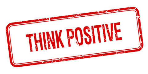 think positive red square grungy vintage isolated stamp
