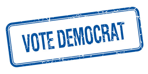 vote democrat blue square grungy vintage isolated stamp