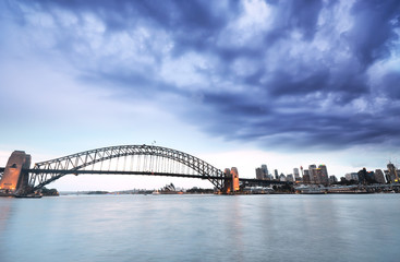 View of Sydney Harbor in a cloudy day