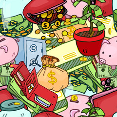 Seamless pattern illustration of money