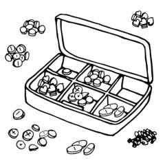 vector Illustration box to receive prescription pills