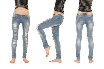 collage female legs in jeans