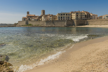 Antibes old town from across the Plage de la Gravette beach