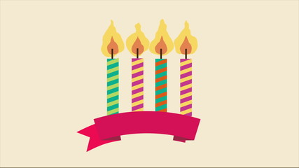 Birthday candles,, Video animation, HD 1080