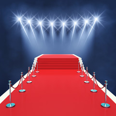 Red carpet event with spotlights , Award ceremony