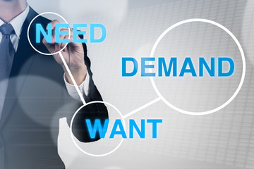 Businessman write word of marketing.need,demand,want