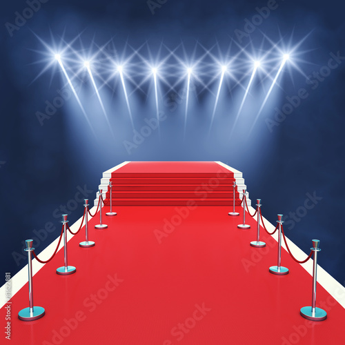 Deurstickers Theater Red carpet event with spotlights , Award ceremony