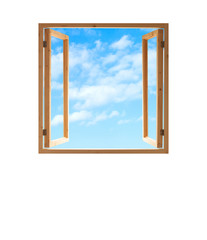 window open wooden frame  sky view isolated white background