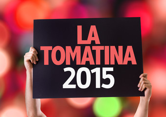 La Tomatina 2015 card with bokeh background